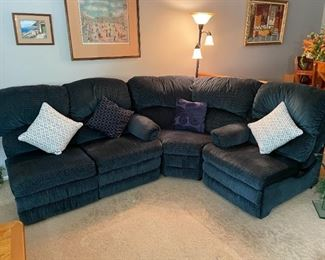 5 PC Sectional (Corner Section, Left Arm Recliner, Right Arm Recliner, Single Seat with Storage Drawer and Sleeper Loveseat)