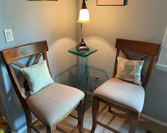 Dining Room Chairs with Slim Side Table and Lamp. Sold Separately. Dining Chairs are part of the dining set
