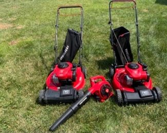 Craftsman Self Propelled His & Hers matching Lawn Mowers. Also shown is a Craftsman new blower.