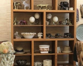 Free standing shelves can go against the wall or be seen on all sides. Faux coral table, genuine sponge, specimen Nautilus and Helmet shells in later photos.