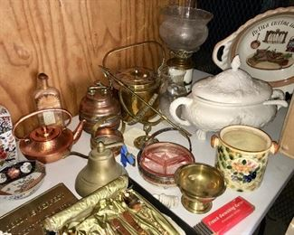 Copper, Brass, Brass Pots, Teapots, vintage pink depression glass tray, soup tureen, large pasta bowls, made in Italy, Vintage gold flatware sets (2) In original boxes