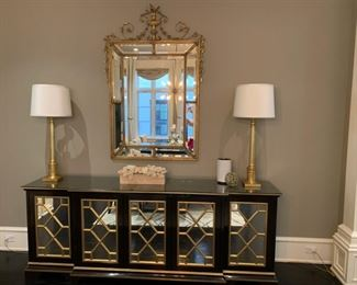 monumental gold mirror, gold buffet lamps and buffet by Nancy Corzine