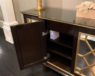 """buffet by Nancy Corzine, black and gold with mirrored doors, very Hollywood Regency, Dorothy Draper, custom built, was $37K new--7'8""""l x 34""""h x 21""""d"""