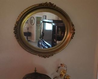 nice oval mirror, lamp not for sale