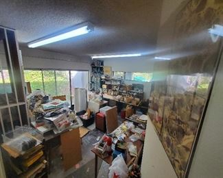 Artist's Studio, tools, supplies, paints, blank canvases, paper, jewelry making supplies