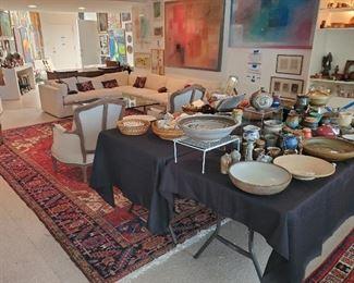Mid-century furniture, art, pottery