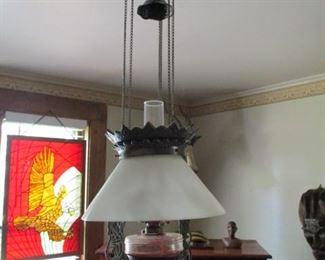Antique Retracting Oil Lamp
