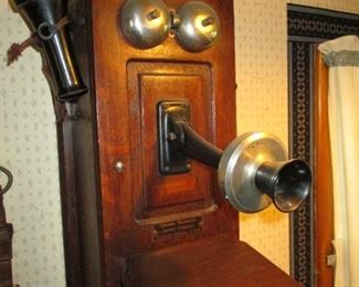 Vintage Chicago Oak Wall Mount Telephone