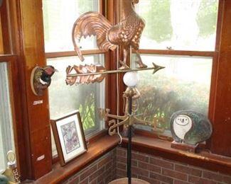 Vintage Copper Chicken Windvane