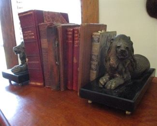Ornate Brass Lion Book Ends