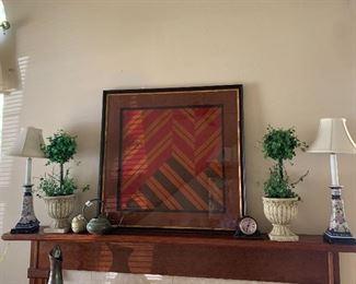 Vintage framed Vera Scarf $165 Pair of topiaries $25 lamps $25 pair