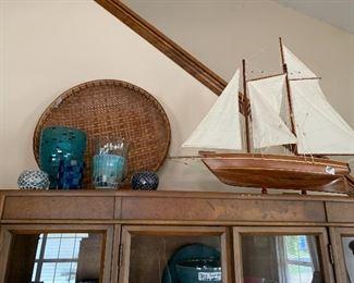Sail boat $45 large basket tray $35