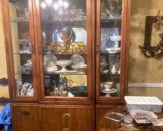Drexel China cabinet and table