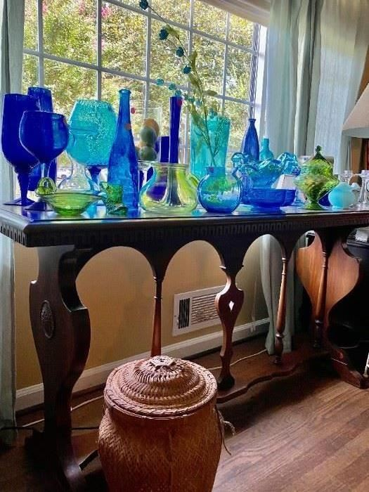 Sofa table with Blue and green glass