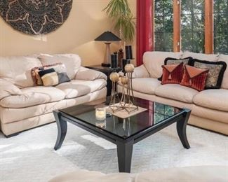 Italian leather sofa, loveseat, and chair with ottoman