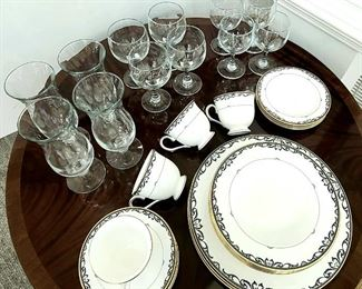 Lenox Table Royal Scroll Pattern 5 piece place setting; set of 4 with water glass, cocktail glass and red wine glass by Libby
