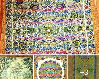 large silk tapestries and table coverings