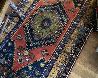 Very antique Yalyali Turkish Anatolian village tribal carpet-few condition issues but rare piece--60-80  years old 5x7' approx