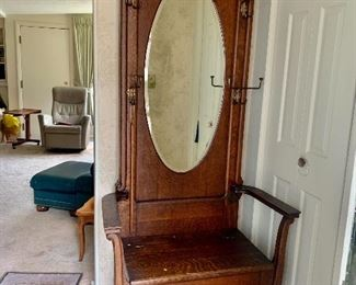 Antique Hall Tree Chair with lift up seat
