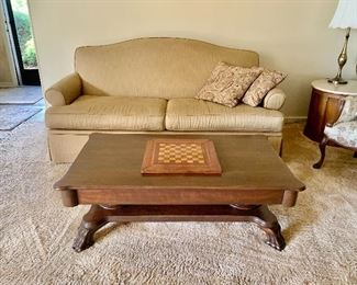 2 Matching Loveseats & Antique Coffee Table with Drawer