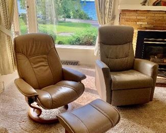 Ekornes Chair & Ottoman, Fjord Leather Recliner