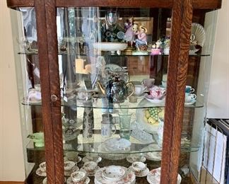 Gorgeous Large & Wide Curved Glass China Cabinet