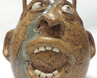 TERRY KING FACE JUG POTTERY, 9H, 2007
