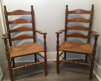Matching Ladderback Armchairs with Rush seats