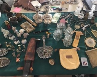 Sterling, Bing and Grondahl Figurines, Mesh Handbags, Mont Blanc Pen, Tiffany Sterling, Glass Curtain Tie Backs and various interesting little items.