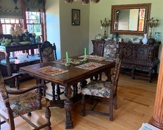 1930's table chairs, sideboard and hutch