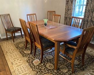 Gorgeous teak dining room set with 10 chairs.  Made by Berlin Wood Working Co. in Millersburg OH.