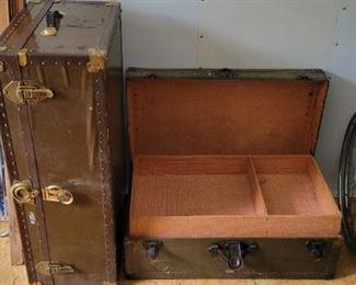 Vintage Vulcanized Fiber Military Grade Foot Lockers