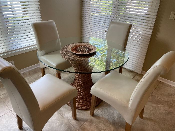 """Glass-topped 45"""" round table with 4 chairs -"""