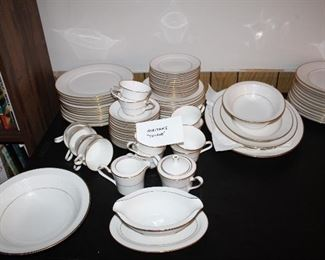"""Noritake """"Tulane""""service for twelve, serving pieces and 12 extra dinner plates"""
