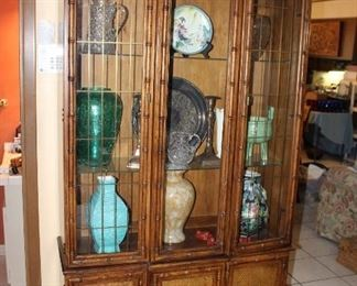 faux bamboo display cabinet, lighted