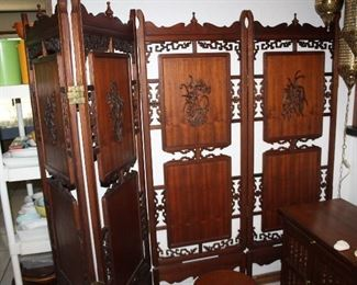 """carved teak four panel screen , 70"""" tall, four 24"""" panels"""