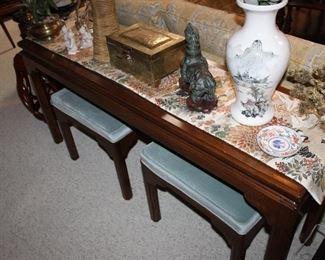 Ethan Allen console table; pair blue velvet stools