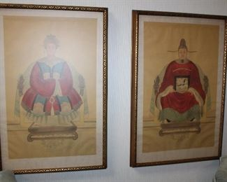 """pair of ancestral painting on silk, 22"""" x 34"""" each; these are old reproductions of 12th century ancestors"""