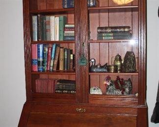 antique oak secretarial cabinet