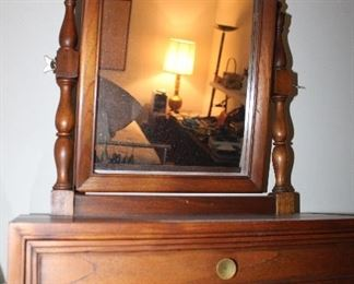 antique shaving mirror with drawer