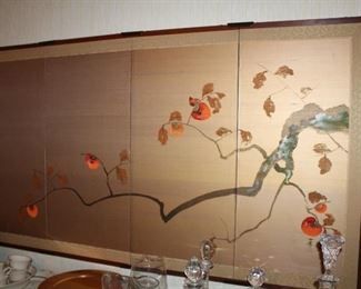 """Japanese Byobu. Four panel wall screen painting on wood, paper and silk. 36"""" X 65"""". Black lacquer frame with brass corners"""