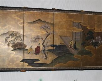"""36"""" x 70"""" four-panel painting on silk"""