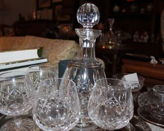 """Waterford """"Lismore"""" decanter and large brandy glasses"""