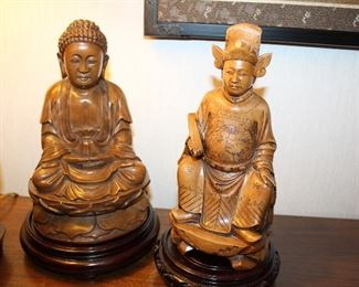 hand-carved wooden Bhudda