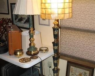 marble and brass floor lamp, oyster shell shade