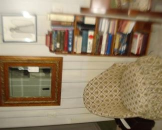 oak mirror, books