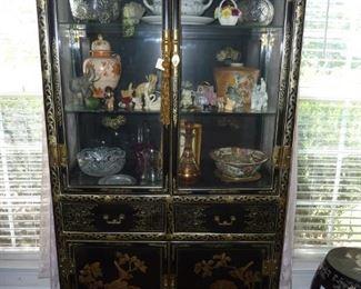 Asian style decor curio cabinet