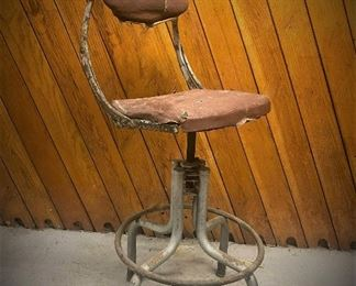 Circa 1930 telephone operator stool by the Do-More Chair Company of Elkhart, Indiana