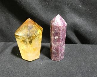 Yellow Quartz & Rhodonite Crystals