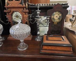 Argus Flint Compotes , Clocks, Dresser Box